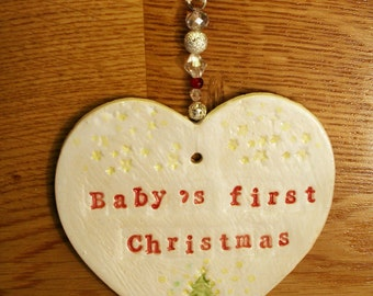 Baby's First Christmas Handmade Pottery Heart, a lovely gift for a child's first special Christmas. A great present for Xmas.