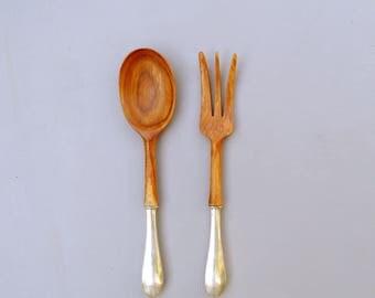 Vintage Webster Sterling Silver and Teak Serving Spoon and Fork, Vintage Serving Utensils