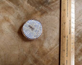 Japanese Wave Magnet | Wood magnet, Japanese indigo pattern printed on wood slice fridge magnet, stocking stuffer, block print fridge magnet
