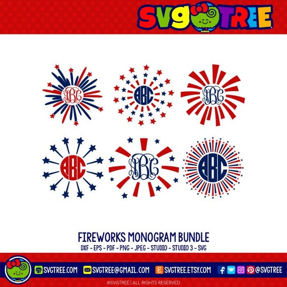 Fourth Of July SVG Fireworks SVG Fourth Of July Monogram 4th
