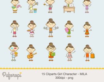 15 Doodle Girl Character Cliparts - MILA - for Planner Stickers - Digital Files