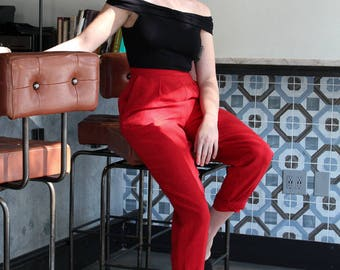Red High Waist Wool Trousers / Pedal Pushers / High Rise Pants / Slacks Capris