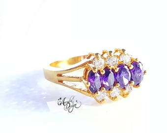 Amethyst Gemstone and Quartz Golden Ring. February Birthstone Purple Stone Jewelry Art Deco Modern Design Violet Gem Ring | Bridesmaid Gift