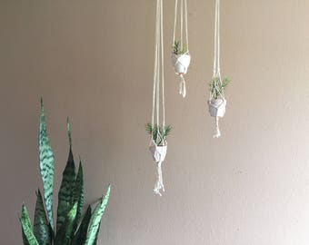 Set of 3 Hanging Macrame Plant Holders Hanger Ceiling Corner Wall Decor Bohemian Plant Pots Boho Bridesmaid Gift Living Room Coastal Beach