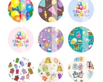 Birthday Digital Collage Sheet 4x6 Sheet Bottlecap Images 1 inch circles