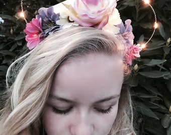 At Last I See The Light Rapunzel Light Up Firefly Lilac & Pink Daisy Rose Disney Floral Wire Mickey Mouse Ear Headband Handcrafted
