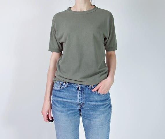 70s Khaki army t-shirt minimalist top / size S-M-L