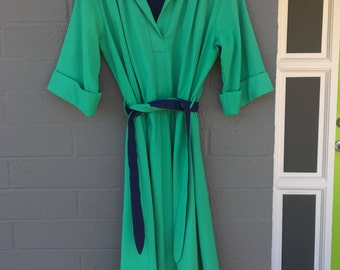 Large Green and Navy Breli Original Work or Casual Dress Knee Length Collar Polyester Rayon Blend Light Weight 10 or 12 Seventies