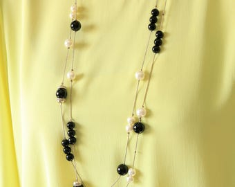 Black And White Beaded Necklace - Long Beaded Necklace
