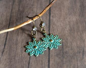 Vintage Earrings, Verdigris Earrings, Charm Earrings, Gift For Her, Gift Under 20 Dollar, Rhinestone Earrings, Christmas Gift, Dangle
