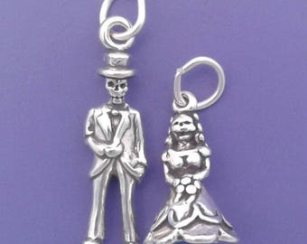 Skeleton BRIDE and GROOM .925 Sterling Silver Charm Set, Day Of The Dead Wedding Halloween Pendants - lp4483-4