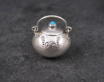 Vintage Sterling Turquoise Dollhouse Miniature Pot Navajo Wesley Whitman