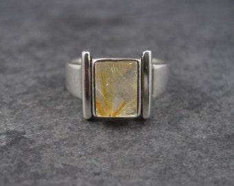 Vintage Modern Sterling Rutilated Quartz Ring Size 8