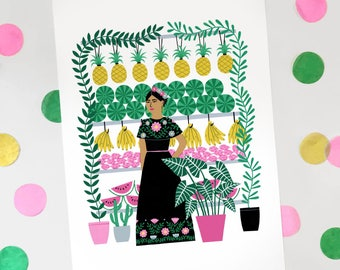 A4 Mexican Lady Art print | Fashion Illustration | wall art poster | botanical flower painting | bright fun gift | home decor | pattern