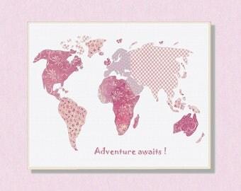 60 Nursery wall art, world map,baby deco,travel baby, art print,pink,travel nursery,tableau chambre enfant