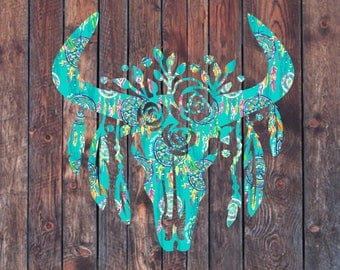 Cow Skull Decal // Lilly Pulitzer, floral cow skull, western decal, steer skull, bull skull, personalized decal, yeti decal, car decal