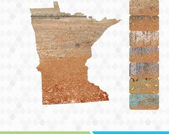 Rustic Clipart, Minnesota Clipart, State Clipart, Barnwood, Commercial Use, State Shapes, Minnesota, Minnesota Copper, MN State
