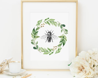Bee Printable Greenery Wreath Wall Decor Art Nursery