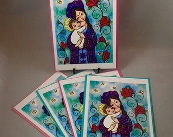 """5 Blank cards 5"""" X 7"""" with envelopes- Russian style Madonna and child - Print of an original watercolor and prismacolor painting"""