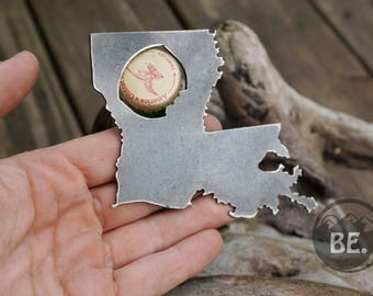 Louisiana State Rustic Steel Recycled Metal Industrial Bottle Opener, LA Travel Gift, wedding favor, Party gift, beer opener