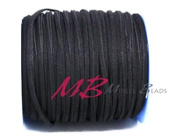 3mm Black Ultra Micro Fiber Suede, 5 Yard Spool Faux Sued, 15 Feet Flat Cord For Jewelry Making