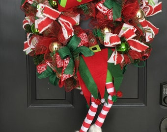 BESTSELLER - READY to SHIP, Christmas Wreath, Elf Door Decor, Christmas Wreath For Front Door, Elf Front Door Wreath, Front Door Wreath