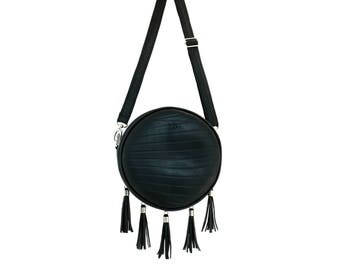 Vegan full moon Women Bag, LUNA Women Handbags,Fashion Round Crossbody Bag with 5 Tassel and Detachable Adjustable Shoulder Strap