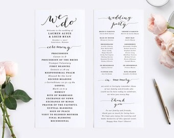 Gold Wedding Programs Wedding Program Template Folded - Catholic wedding program template