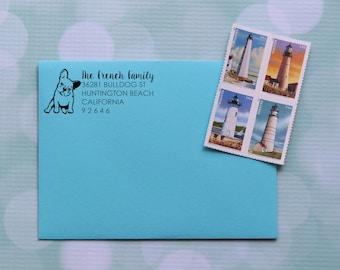 French Bulldog Address Stamp, Dog Address Stamp, Frenchie Stamp, Frenchie Address Stamp, Self Inking Address Stamp Family Address Stamp 0052