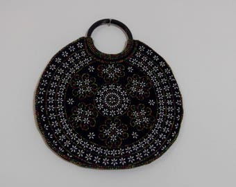 70s Round Beaded Corduroy Purse / Vintage 70s purse / Boho Hippie Style Bag / CarnivalofFashion
