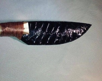 04-This Beautiful Handcrafted knapped, Mexican Gold Sheen Obsidian with Deer Leg Bone knife. Would make a great gift or to keep.