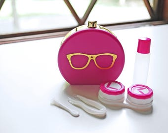 Pink Contact Lens Case and Travel Kit: Gold Foiled Eye Glasses Design