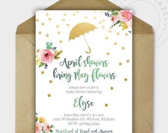 Baby Shower Invitations - Baby Shower - Baby Girl - April Showers Bring May Flowers - Gold Glitter - Personalized - 5x7