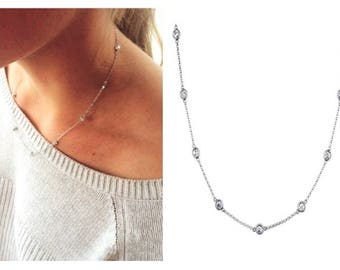 """Round Bezel 18"""" 3 mm Cubic Zirconia 2.2 TCW CZ's By The Yard 12 Station Silver Necklace .925 Sterling"""