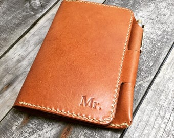 Personalized leather notebook cover Kangaroo leather notebook cover Personalized notebook cover with pen holder Personalized notebook holder
