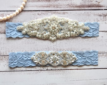 Wedding Garter, NO Slip Lace Wedding Garter Set, bridal garter set, pearl and rhinestone garter set, vintage rhinestones Style A2028