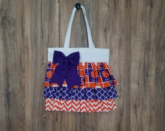 Clemson Tigers Inspired Ruffled Tote Bag