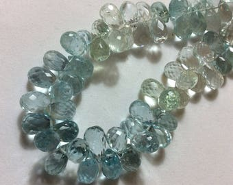 Faceted Aquamarine Briollite Beads