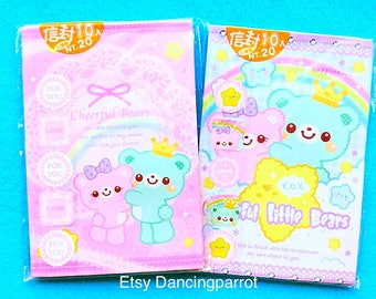 Kawaii bear envelopes Kawaii stationery Kawaii envelopes Pastel pink envelopes Pastel blue envelopes Cute envelopes Cute bear stationery