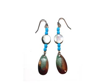 Abalone and silver nickel dangle Earrings