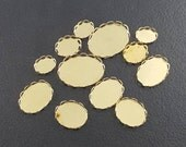 Brass Plated Scallop Bezels, lot of 12, multiple sizes, jewelry findings ,bezels, mgsupply, findings, components, settings, bezel cups
