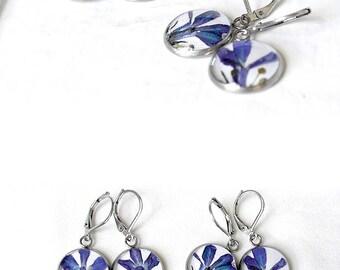 Real flowers earrings Blue dangle earrings Bright blue earrings Delicate earrings for girlfriend Elegant earrings Pressed flower jewelry