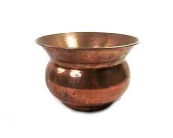 Vintage Hammered Copper Planter, Copper Jardiniere, Round Copper Planter, Copper Decor, Copper Plant Pot, Copper Christmas Gift