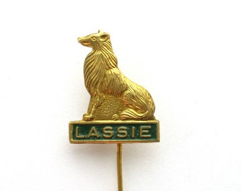 Lassie pin, dog stick pin, button, Scottish Collie collectible advertising brooch