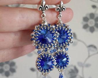 """Long earrings """"Blue Lily"""" beaded earrings swarovski earrings beadwoven earrings bead earrings bead woven earrings bead earrings beadwork"""
