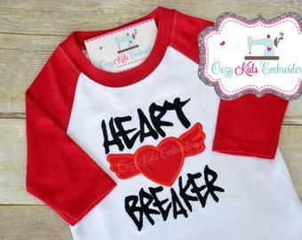 Valentines shirt, Boys Valentine's Day shirt, Heart Breaker shirt, boy shirt, raglan shirt, embroidery, applique