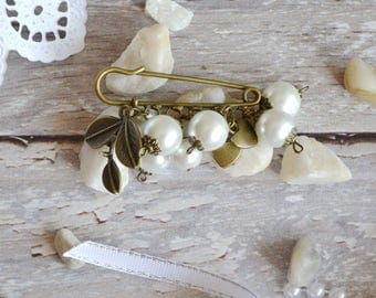 wedding gift|for|mom pearl brooch white brooch pin birthday gift|for|her beaded brooch jewelry gift|for|women bridal brooch bridal jewelry