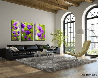Set of 3 Extra Large Art, Large Wall Art, Flowers on Canvas Art Set, Art Set of 3 Flower Canvas Art, Large Wall Decor, Living Room Art
