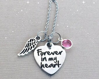 FOREVER in my Heart Necklace, Memorial Necklace, Sympathy Gift, Remembrance Jewelry, Memorial Jewelry