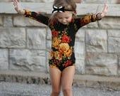 Girls Fall Floral Leotard, Amber Roses, Ballerina, Bodysuit, Baby Leotard, Toddler Leo, Dance, Gymnastics Leotard, Leotards for Girls